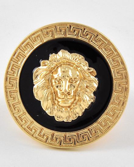 jewelz by julz...The Collection! Gold Tone Round Lion Head Stretch Ring [FREE black velvet pouch] at Sears.com