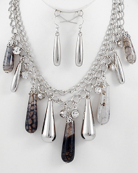 Rhodium Necklace and Earring Set at Sears.com